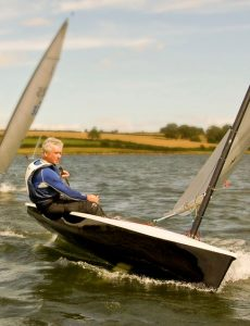John Claridge sailing a Lightning 368