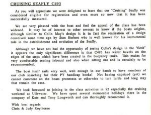 Letter about C493 conversion, Winter 92