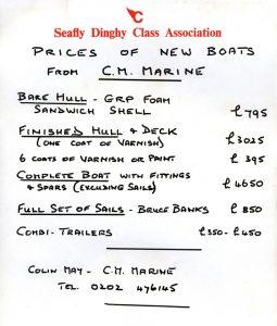 1994 C.M.Marine price list