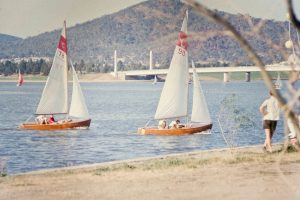 Returning to Lotus Bay, Canberra, Peter Fullagar and Doug Guppy, Mar 65 (photo: P.Fullagar)
