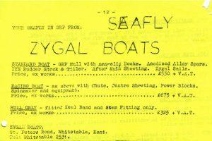 Zygal price list (October 1975 SDCA Newsletter)